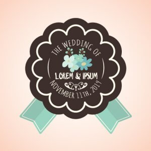 Multicolor Vintage Wedding Badges VW104