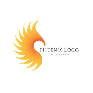 Yellow And Orange Phoenix silhouette logo PS101